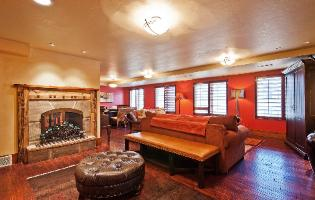 Park City Condo Rental - Great Room with Stone Fireplace